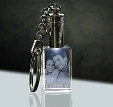 3Dglas LED beleuchter Glas Schlüsselanhänger mit