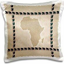 3dRose Afrika mit Elefanten–Kissen Fall,