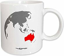 3dRose Australien in rot Keramik Tasse, 11-Ounce