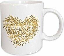 3dRose Becher mit goldenem Konfetti-Herzmotiv, 325