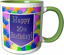 3dRose Becher mit lila Banner Happy 20th Birthday,