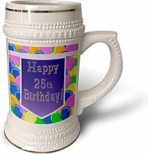 """3dRose Becher mit lila Banner """"Happy 25th"""