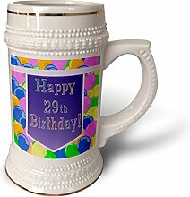 """3dRose Becher mit lila Banner """"Happy 29th"""