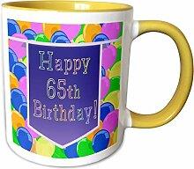 3dRose Becher mit lila Banner Happy 65th Birthday,