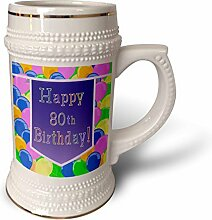 """3dRose Becher mit lila Banner """"Happy 80th"""