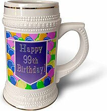 3dRose Becher mit lila Banner Happy 99th Birthday