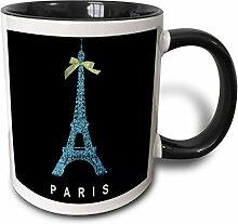 3dRose blau Eiffelturm mit Grün Girly Schleife