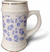 3dRose blau-weißes Blumenmuster inspiriert von