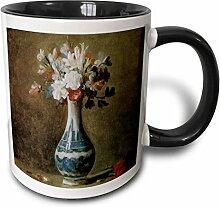 3dRose Blumen in Blau und Weiß-Vase mit