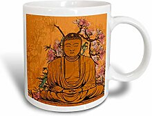 3dRose Buddha Statue mit Lovely Rosa Japanische