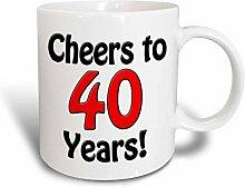 3dRose Cheers, 40Jahre Kaffeebecher, Keramik,