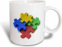3dRose Colorful Puzzle Design Autism Becher,