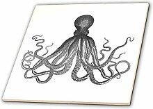 3dRose CT 112921_ 2Vintage Octopus schwarz und