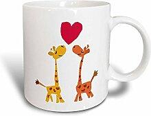 3dRose Cute Baby Giraffen mit Herz vor Love