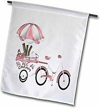 3dRose Cute Pink & Weiß Fahrrad mit EIS Wagon