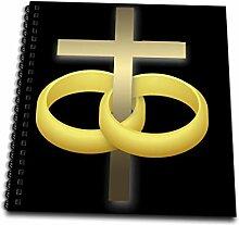 3dRose Ehe oder Jahrestag Zwei Eheringe Gold Kreuz