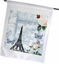 3dRose Eiffelturm mit Rosen und Schmetterlinge