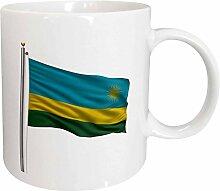 3dRose Fahnenmast mit Flagge von Ruanda, Weiß