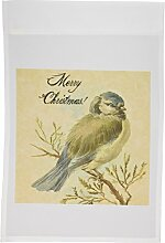 3dRose FL 10896_ 1Weihnachten Vintage Vogel mit Grunge Textur by angelandspot Garden Flagge, 12von 18