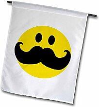 3drose FL _ 113095_ 1gelb Smiley, mit Big schwarz mustache-funny moustache-fun Hipster Fancy Gentleman Cartoon Garten Flagge, 12von 18