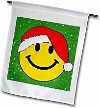 3drose FL _ 113099_ 1Weihnachten Smiley, mit Red Santa Hat Happy Smily Claus grün Festive Xmas Merry Jolly Cartoon Garten Flagge, 12von 18