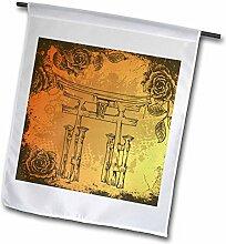 3drose FL _ 116374_ 1japanischen Stil, Tor mit Vintage Kunstleder etches Rosen Oriental Asiatische inspiriert Art Geschenk Garden Flagge, 12von 18