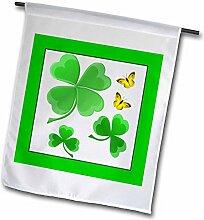 3drose FL _ 11685_ 1A Pretty Shamrock Clover Design mit Little Golden Butterflies Garden Flagge, 12von 18