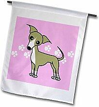 3dRose FL 12096_ 1Cute Italienisches Windspiel Fawn violett mit Hundemotiv Hintergrund Garten Flagge, 12von 18