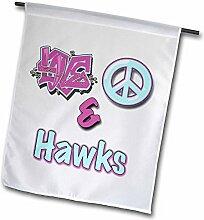 3drose FL _ 122768_ 1Love Peace und Falken in blau und violett Garten Flagge, 12von 18