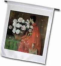3dRose FL 126448_ 1Peonies von William Merritt Chase Asiatische Frau mit Blumen Garten Flagge, 12von 18