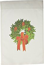 3drose FL _ 127568_ 1Weihnachten Kranz mit eine große rote Schleifen und Band Garten Flagge, 12von 18