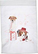 3drose FL _ 127598_ 1niedliche Terrier und Beagle Hunde in Rosa und Rot ist ideal für den Hundeliebhaber und Mütter Tag Garten Flagge, 12von 18