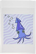 3drose FL _ 13790Satinband _ 1niedliche violett und blau Squid Garten Flagge, 12von 18