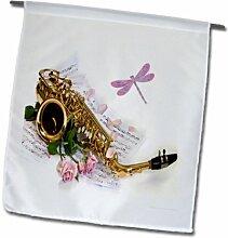 3dRose FL_163534_1 Bild Saxophon mit Rosen und