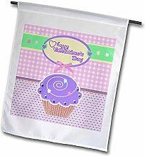 3drose FL _ 173151_ 1Valentine violett Cupcake mit Süßigkeiten auf Pfirsich Gingham und Tiny Hearts Garden Flagge, 12von 18