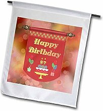 3dRose FL_186543_2 Happy 97Th Geburtstagsbanner,