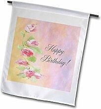 3drose FL _ 18889_ 1lackiert rosa Rosen Happy Birthday Garden Flagge, 12von 18
