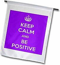 3drose FL _ 194344_ 1Keep Calm and Be Positive und lila Garten Flagge, 12von 18