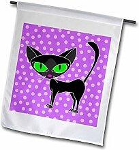 3drose FL _ 24626_ 1Fancy Feline Schwarz Katze Design in Lila Garten Flagge, 12von 18