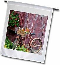 3dRose FL_259309_2 Altes Fahrrad mit Blumenkorb