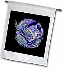"3drose FL _ 27688 _ 5,1 cm Surreal SCI FI violett Alien Fish Swimming in Space, schwarz Hintergrund ""Garten Flagge, 45,7 x 68,6 cm"