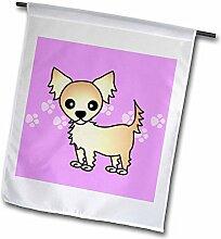 3drose FL _ 28478_ 1Süße cremefarben Chihuahua Tan langhaarig violett mit Pfotenabdrücken Garden Flagge, 12von 18