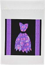 3drose FL _ 30244_ 1lila und rosa geblümt Kleid auf schwarzem Hintergrund mit Damast Bänder Garten Flagge, 12von 18