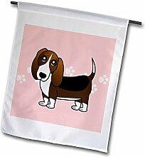 3drose FL _ 35536_ 1Cute Hund Basset Hound Cartoon Rosa mit Pfotenabdruckmotiv Garten Flagge, 12von 18
