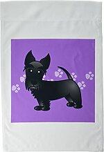3drose FL _ 40869_ 1Cute Schwarz Scottie Cartoon Hund violett mit Pfotenabdrücken Garten Flagge, 12von 18