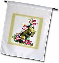 "3drose FL _ 47879_ 2,5cm grün Vogel rosa Blumen mit rosa N grün Shadow Frames ""Garten Flagge, 30,5x 45,7cm"