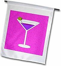 3dRose FL 57114_ 1leuchtendes Violett in Glas Martini mit Olive Rosa Hintergrund Garten Flagge, 12von 18