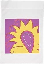 3drose FL _ 58261_ 1groß gelb und violett Paisley Art Garden Flagge, 12by 18
