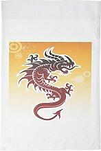 3drose FL _ 62464_ 1Asiatische Dark Red Dragon auf orangefarbenen Hintergrund hervor Garten Flagge, 12von 18