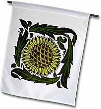 3drose FL _ 62985_ 1Kunst und Handwerk Stil Sonnenblume Pflanze Garten Flagge, 12von 18